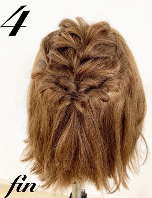 たまには「巻き髪だけスタイリングおやすみday」を◎ボブさんにぴったりの編み込み×ハーフアップアレンジtop
