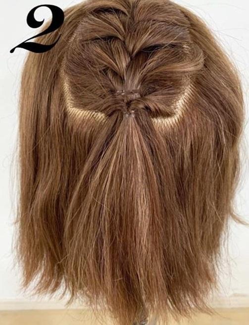 たまには「巻き髪だけスタイリングおやすみday」を◎ボブさんにぴったりの編み込み×ハーフアップアレンジ2