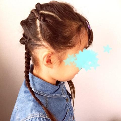 子供のヘアアレンジにぴったり♪アクティブでゴージャスな三つ編み×くるりんぱアレンジ☆11