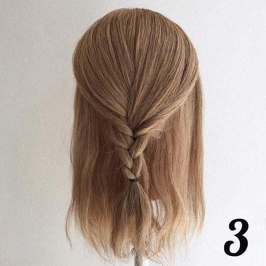 下ろし三つ編みがかわいい!簡単ハーフアップアレンジ☆3