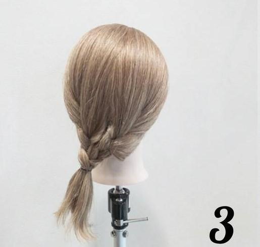 5分で簡単こなれ感♪綺麗め三つ編みローポニーアレンジ☆3