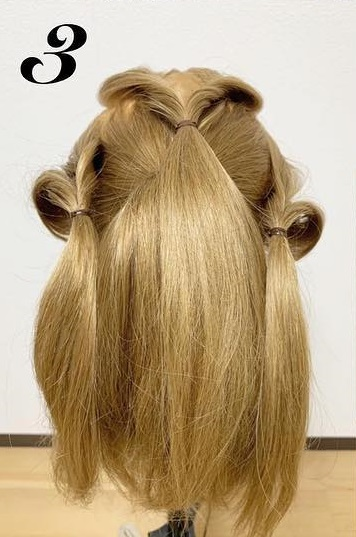前髪が無くても可愛らしく華やかに☆くるりんぱを使ったポニーテールアレンジ♪3