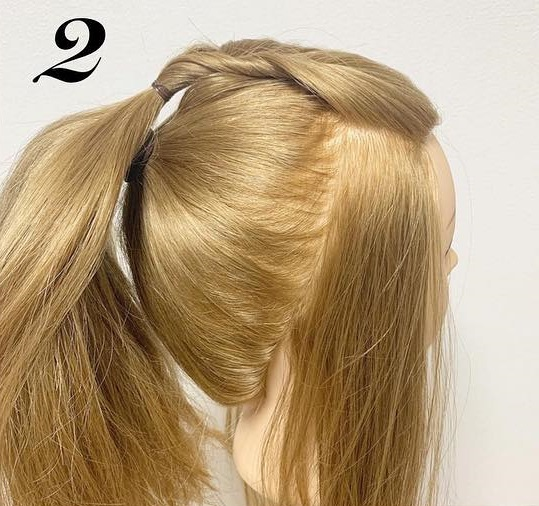 前髪が無くても可愛らしく華やかに☆くるりんぱを使ったポニーテールアレンジ♪2