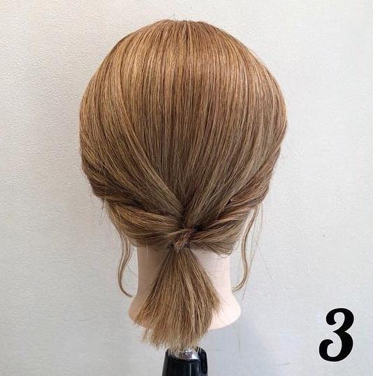 髪が短くてもアレンジを諦めないで!ボブでも出来る、簡単ローポニアレンジ♪3