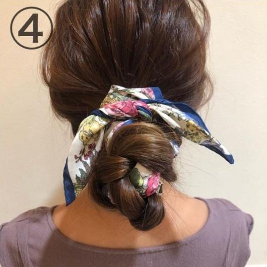 スカーフでヘアアレンジ!毛量関係なく綺麗にまとまるお団子ヘア♪4