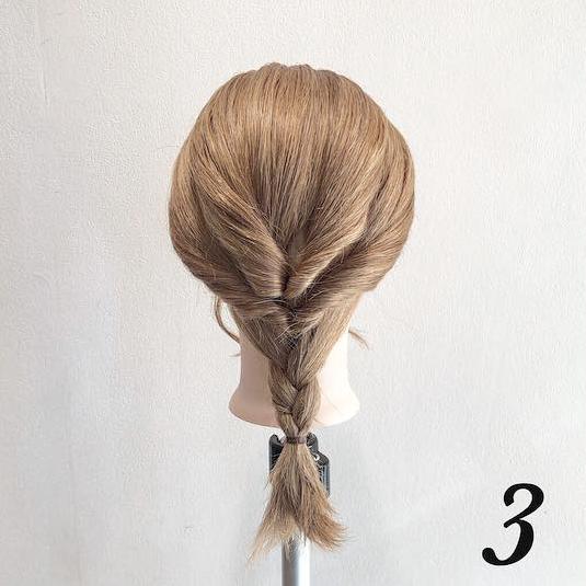 くるりんぱで簡単☆こなれ感満載ルーズ三つ編みアレンジ3