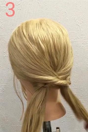 毛量が少ない方にぴったり!くるりんぱと三つ編みで作るギブソンタック☆3