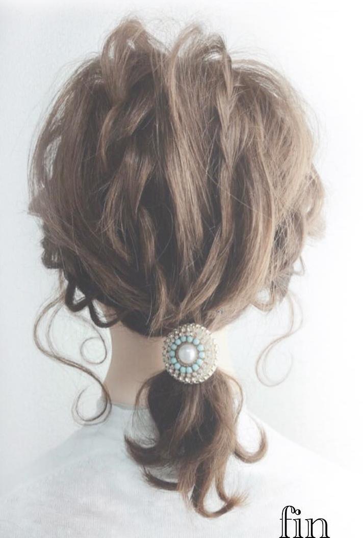前から見ても後ろから見ても可愛い♡ミディアムヘアでできるお呼ばれローポニfin