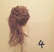 髪をアップにしてスッキリ☆形が可愛いセンタートップくるりんぱツイスト♪4