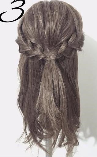 三つ編みで作る!自分でできる結婚式にピッタリなお呼ばれヘア3