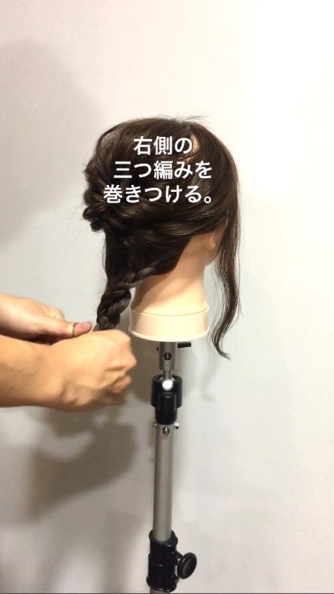 ピン不要!!ゴムだけなのにミディアムヘアでもできる編みおろし風アレンジ6