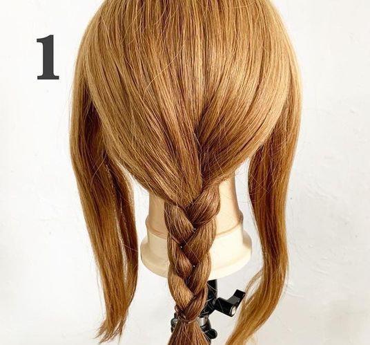 編み込み不要!三つ編みだけで作る簡単編みおろしアレンジ☆1