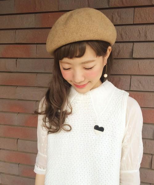被るだけで可愛い☆ベレー帽に似合うヘアスタイル2