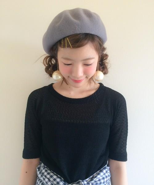 被るだけで可愛い☆ベレー帽に似合うヘアスタイル1