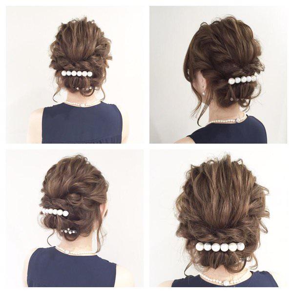 ヘアアクセを使って女子力UPなヘアスタイル