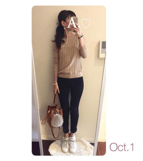 ユニクロの「ワイドリブセーター」の着まわし&ヘアスタイル5Days3