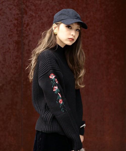 刺繍ニットに似合うヘアスタイル2