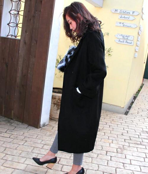 ひざ下ロングコートに似合うヘアスタイル2