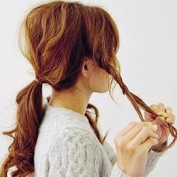 シンプルの中に上品さをプラス☆ロープ編みで作るゆるふわポニーテール2