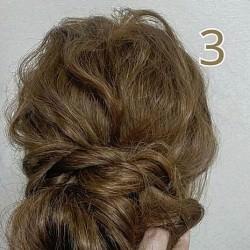 お団子×ロープ編みで作るラフなまとめ髪3
