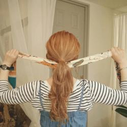 ショップ店員風♪スカーフでおしゃれヘアアレンジ2