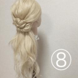 髪を紐と同じように結んで作る!簡単ハーフアップ8