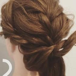 簡単編み込みアレンジ☆まとめ髪の作り方2