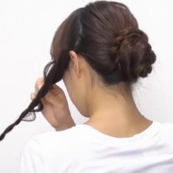 お団子×ロープ編み!華やかなオシャレまとめ髪☆5