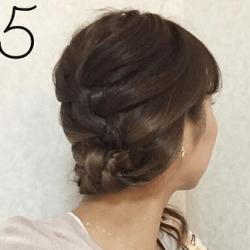 スカーフも一緒に編み込み☆まとめ髪5