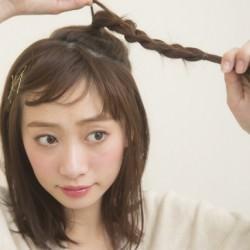 大人っぽい三つ編み 巻かなくてもミディアムヘアでできる海外セレブ風アレンジ1