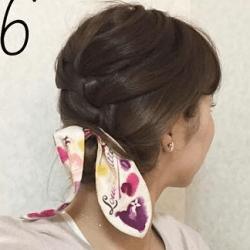 スカーフも一緒に編み込み☆まとめ髪6