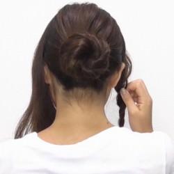 お団子×ロープ編み!華やかなオシャレまとめ髪☆3