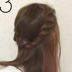 前髪もまとめてロープ編みにするハーフアップアレンジ♪3