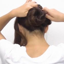 お団子×ロープ編み!華やかなオシャレまとめ髪☆4