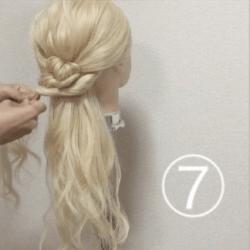 髪を紐と同じように結んで作る!簡単ハーフアップ7