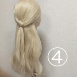 髪を紐と同じように結んで作る!簡単ハーフアップ4