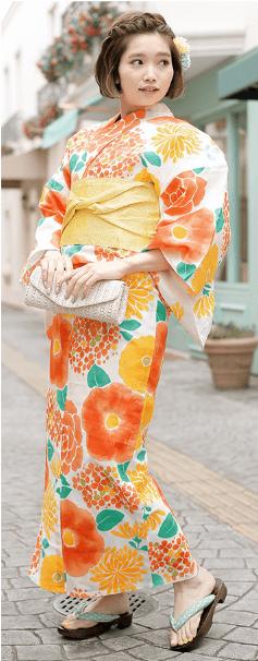 浴衣のカラー別におすすめなヘアスタイル オレンジ