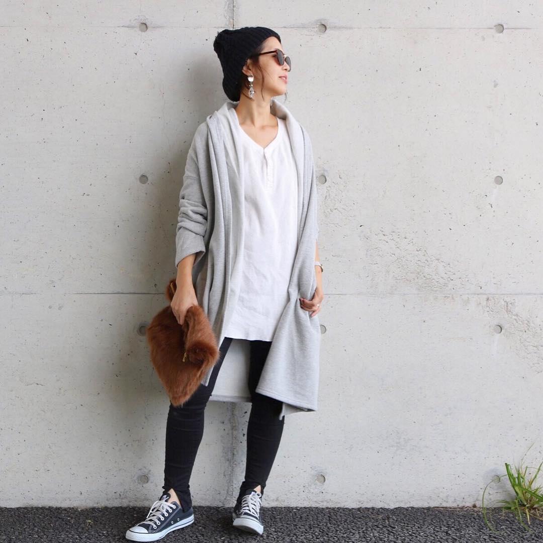 ニット帽×シニヨン
