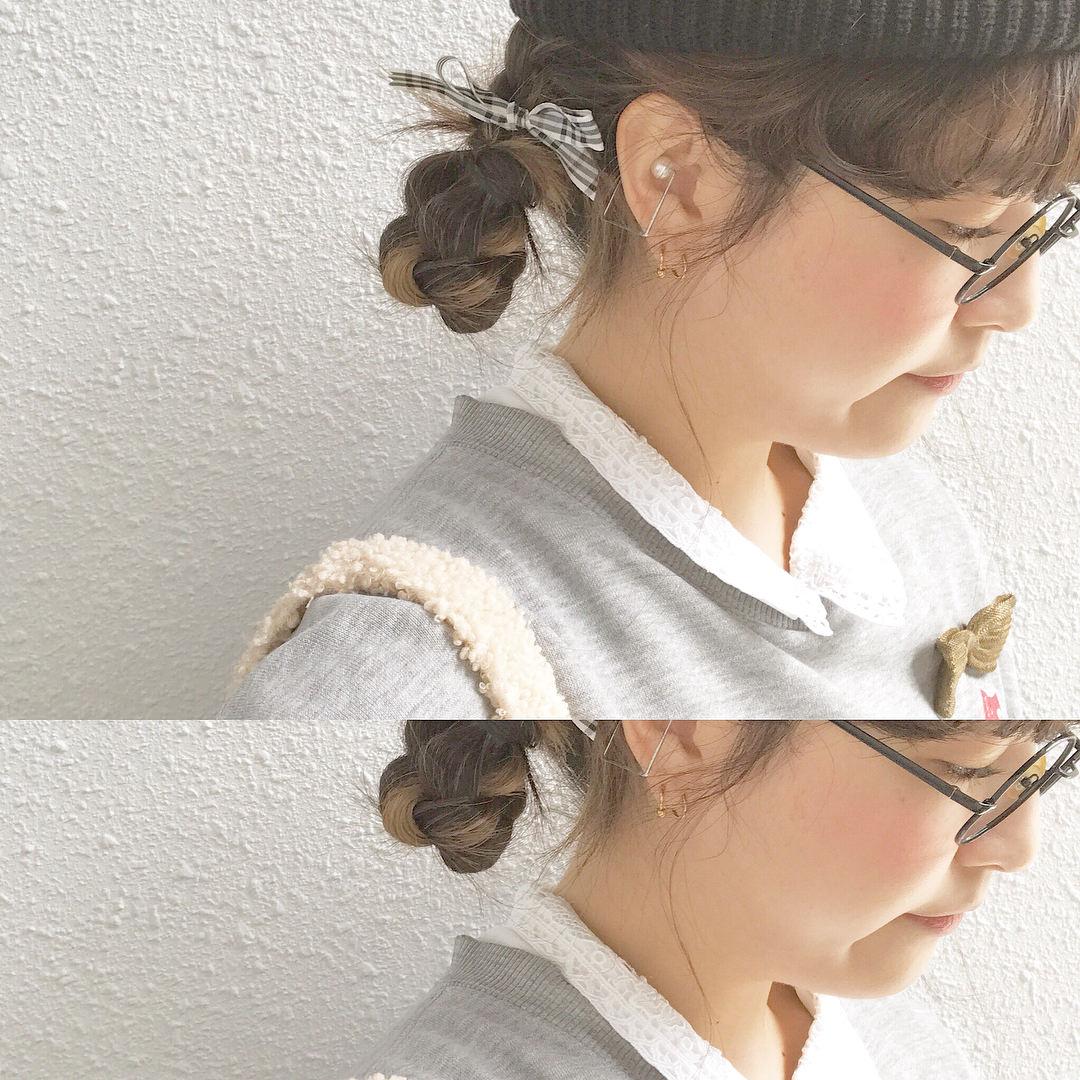 ニット帽×三つ編みお団子