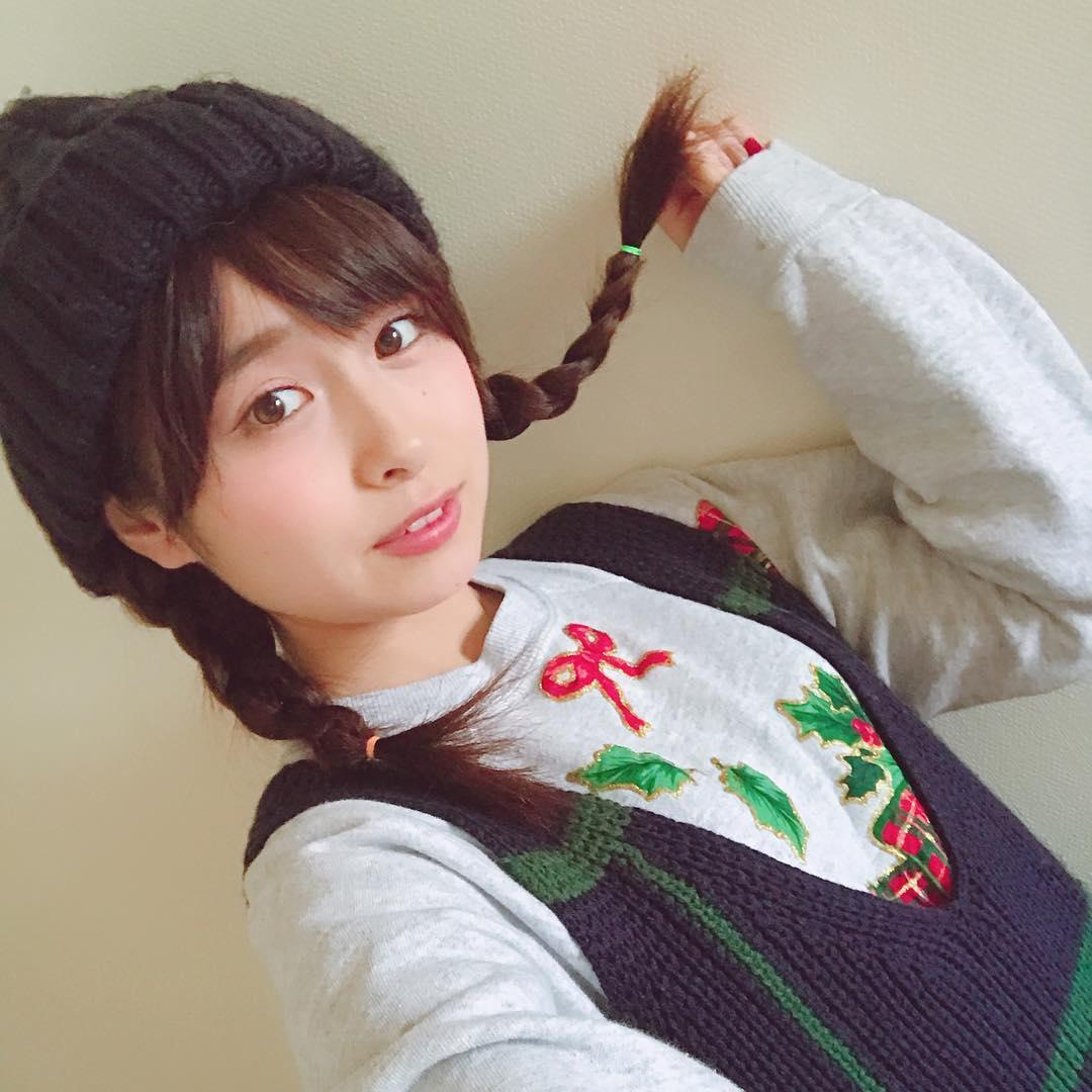 ニット帽×三つ編みツイン