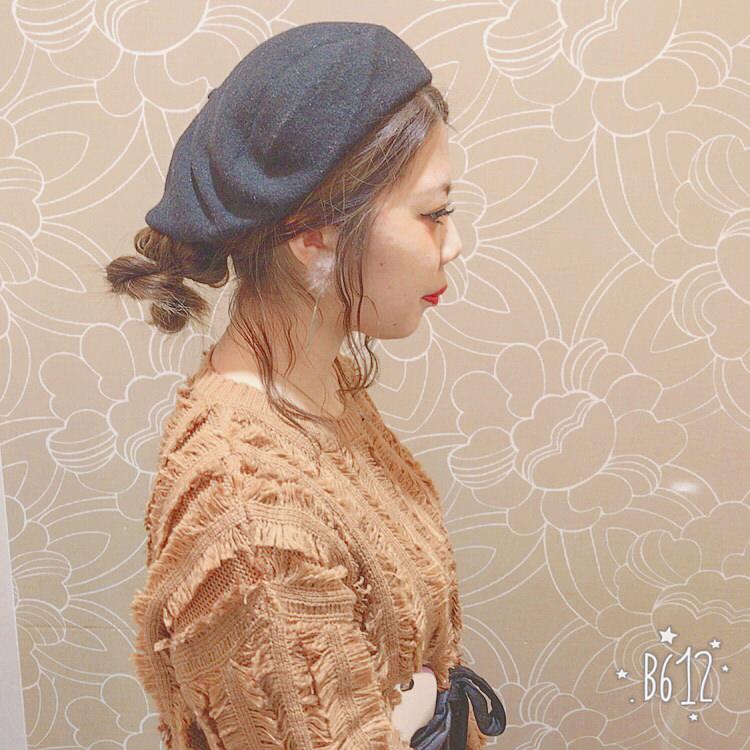ベレー帽×お団子風アレンジ