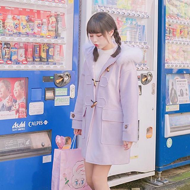 ダッフルコート×三つ編み