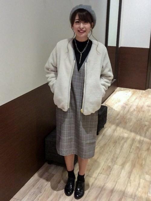 脱・子供!ジャンパースカートとヘアアレンで作る大人スタイル☆ハンチング