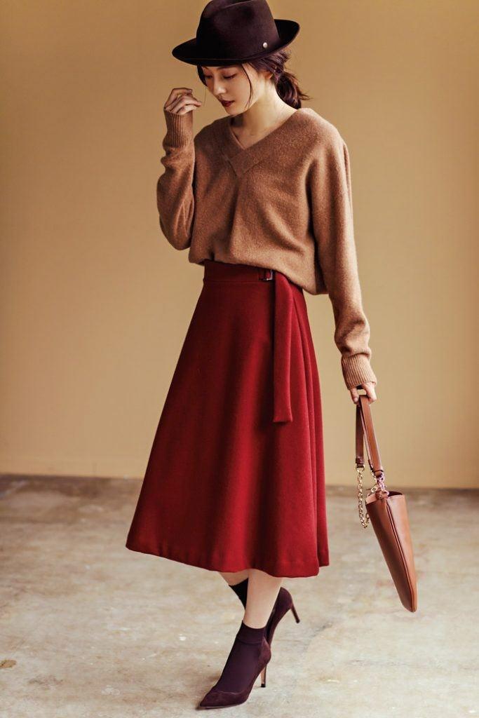 秋冬といえば!ボルドーカラーのスカートに合うヘアアレンジ3