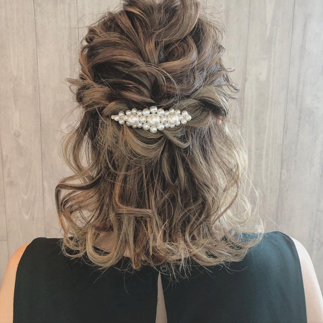 キラキラパールが冬っぽくてカワイイ♡パールのヘアアクセに似合うヘアアレンジ9